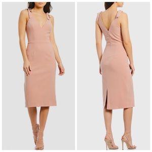 DRESS THE POPULATION Lita Tie Shoulder Midi Dress
